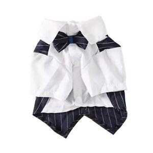 Dog Stripe Blazers Shirt Pet Suit Coat with Bow Poodle Cat Chihuahua Vest Tops