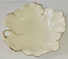 Mikasa Narumi Japan B2001 Ivory Bone China 24 Karat Large Leaf Bowl New