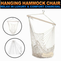 Outdoor Hanging Swing Cotton Hammock Chair Solid Rope Yard Patio Porch Garden