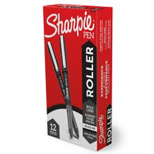 Sharpie Roller Pens, 0.7 mm, Black Barrel, Black Ink, Pack Of 12 Pens