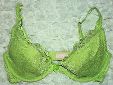 Victorias Secret 34D  Bra VERY SEXY Size Balconet  Lime Green Lace