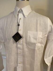NWT Brooks Brothers Irish Linen Button Shirt Long Sleeve L/S White Large Regent