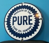 VINTAGE PURE OIL CO PORCELAIN TEXAS GASOLINE SERVICE STATION PUMP PLATE SIGN
