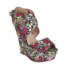 "Pre-owned STEVE MADDEN Floral Fabric ""Wildd"" Platform Wedge Shoes Size 7.5M"