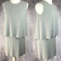 COS Taupe Light Grey Double Layer Lagenlook Casual A-Line Dress Size Small S