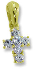 Cutest Tiny Baby Cross Pendant Charm 14k Yellow Gold CZ's