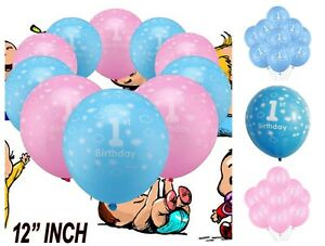 """10 HAPPY 1st BIRTHDAY 12"""" BLUE PINK MIX Latex Balloons Party Air/Helium Fill"""