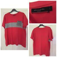 Pierre Cardin Red T Shirt Mens Grey Pocket Size Large L Regular Fit (A403)