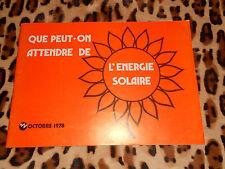 Que peut-on attendre de l'énergie solaire - EDF 1978
