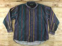 Vtg American Eagle Flannel Shirt Mens XL Striped Loose Fit Grunge Surf Skate 90s