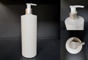 White Lotion Pump Bottle 500ml Cylindrical Pet Plastic Matt Silver / White X10