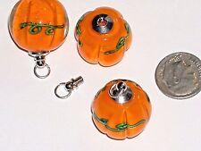 1 Glass overlay Pumpkin Fruit BOTTLE Potion pendant charm Halloween Screw top *