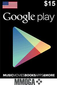 $15 USD Google Play Gift Card - 15 US Dollar Android Store Prepaid Code Key USA