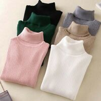 Sweater Sleeve Knitted Long Turtleneck Fit Winter Pullover Top Slim Warm Womens