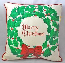 """Vintage """"MERRY CHRISTMAS"""" Green Holly & Red Berries WREATH THROW PILLOW Quilted"""