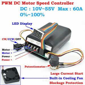 DC 10-55V 60A PWM Motor Speed Controller CW CCW Reversible Switch 12 24  npL pA
