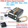 DC 10-55V 60A PWM Motor Speed Controller CW CCW Reversible Switch 12 24  NM
