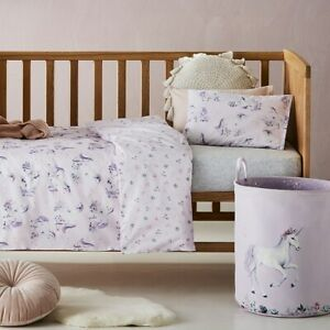 ADAIRS KIDS Magical Unicorn COT Quilt Cover Set - lilac, pink - Reversible