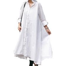Women Dress Casual Maxi Boho Long Sleeves Loose Fit Mid Long Shirt Dress Plus Sz