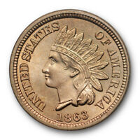 1863 1C Indian Head Cent ANACS MS 64 Uncirculated Exceptional Coin ! Sharp