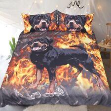 Rottweiler Print Bedding Set Duvet Cover Fire Dog Bedclothes Home Textile Gift
