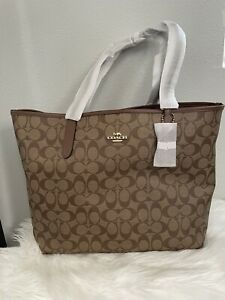 NWT COACH City Tote In Signature Canvas $350 #5696 NEW VERSION