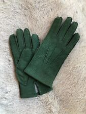Leather Gloves with cashmere lining Carpincho Capybara Suede Green Handmade A1