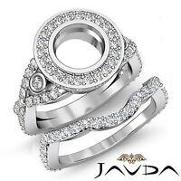 Round Diamond Engagement Halo Pave Setting Ring Bridal Set 14k Gold White 2.1Ct