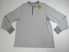 Cremieux Premium Denim Mens LT Grey Long Sleeve Distressed Henley Shirt Large