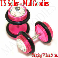 1162 Fake Cheaters Illusion Faux Ear Plugs 16G Bar Look 0G Pink Solid Clear CZ