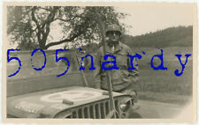WWII US GI Photo - ID'd 3482nd Ordnance MAM Company Lt. Poses w/ Jeep By River