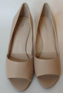 Franco Sarto Beige Leather Wedge Shoes Heels 8.5 Embossed Peep Toe