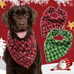 Soft Cotton Dog Bandana Collar Christmas Snowflake Xmas Neckerchief Scarf S L