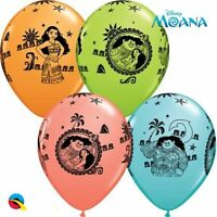 "NEW 5 Disney Moana and Maui 11"" Qualatex Hawaiian Tropical Latex Balloons"