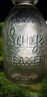 Fancy Script Lang's Creamery Cream Top Buffalo New York Quart Milk Bottle
