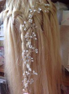 Hair Vine Plait Pearl diamanté's Wedding Bridal Headpiece Boho Prom pagan Bling