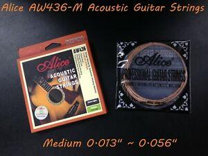 """Alice AW436-M Premium String Set for Acoustic Guitar .013""""~.056"""", Medium Tension"""