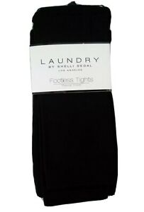 LAUNDRY Footless Tights Size Large Fleece Lined Package of 2 Black