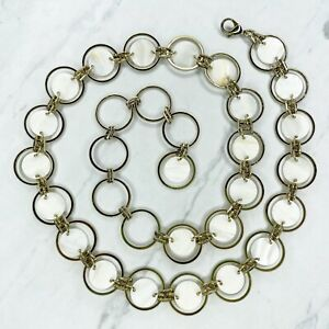Gold Tone Plastic Floating Circle Concho Belly Body Chain Link Belt One Size OS