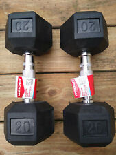 WEIDER 20 lb Dumbbells Hex Rubber Coated Set (40 lbs total) Pair Ships FAST FREE