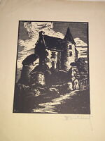 Ferdinand DUBREUIL (1894-1957) GRAVURE ORIGINALE CHATEAU ALLIER AUVERGNE 1940