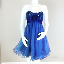 Sherri Hill Size 0 Short Tulle Strapless Sweetheart Dress Prom Formal Blue Tutu