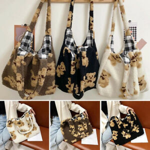 Women Lamb Like Fabric Shoulder Tote Bag Canvas Fluffy Fur Bear Handbags