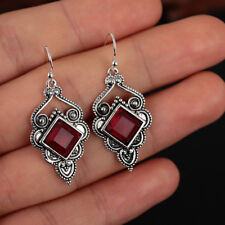 Wedding Jewelry Chic Hook Gemstone  Dangle  Red Agate Earrings Ruby Ear Stud