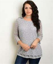 NEW..Elegant Plus Size Silver Grey Lined Lace Top with Sheer Sleeves..Sz14/1XL