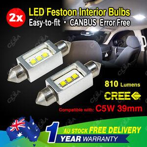 2X Festoon 39mm LED Car Interior Dome Map Light Bulb 12V-24V 9W CAN Bus CREE