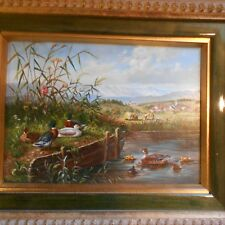 modern oil painting ,ducks by riverbank