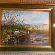 Moderno pittura a olio, anatre dalla sponda del fiume