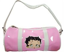 Betty Boop Roll Style Pink Glossy Handbag with Betty Motif