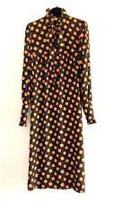VINTAGE YVES SAINT LAURENT 80s PRINTED SMOCK DRESS LAVALLIÈRE COLLAR VOLANT SZ M